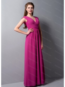 V-neck Chiffon Fuchsia Cap Sleeves Dama Dress