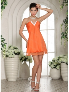 V-neck Mini-length Orange Dama Dresses for Quinceanera