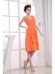 V-neck Ruching Orange Dama Dress 2013 On Sale