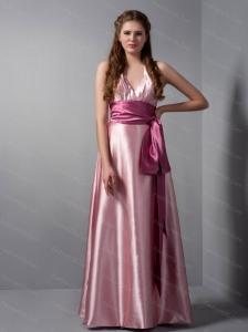 V-neck Sash Floor-length Pink Dama Dress