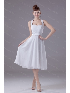 White Halter Empire Chiffon 2013 Dama Dresses On Sale