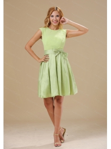 Yellow Green Knee-length Sash Scoop Dama Dress For Summer