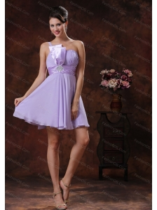 2013 One Shoulder Lilac Short Dama Dresses for Quinceanera