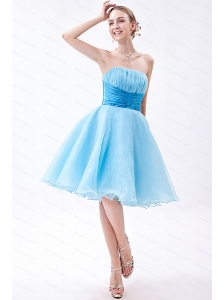2013 Short A-line Organza Ruch Baby Blue Dama Dress