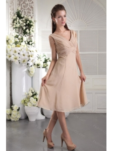 2013 Simple V-neck Champagne Tea-length Pleat Dama Dress