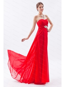 2013 Spring Beading Red Brush Train Dama Dress