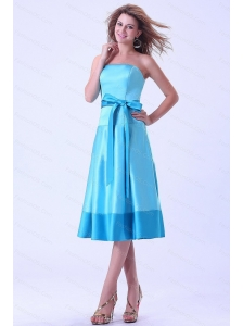 Aqua Blue Sash Short 2013 Dama Dresses On Sale