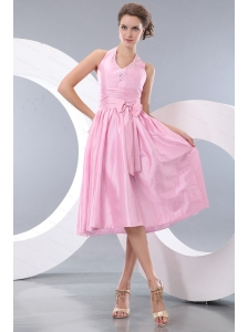 Baby Pink Halter Short Beaded Dama Dress With Bowknot