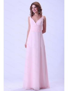 Baby Pink Long V-neck Chiffon 2013 Dama Dresses