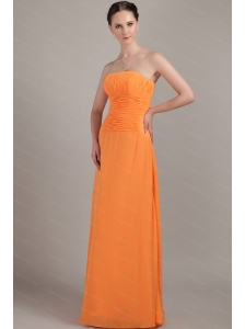 Beading  Modest Column Floor-length Orange Dama Dress