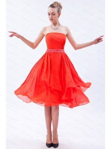 Beading Red Strapless Empire 2013 Dama Dress for junior