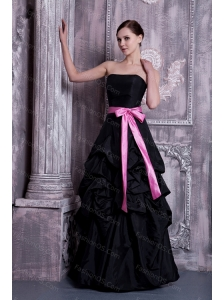 Black A-line Strapless Sash and Pick-ups Dama Dress For Summer