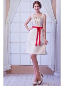 Bows Straps Mini-length Satin Champagne Dama Dress