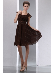 Brown Square Cap Sleeve Short Dama Dress With Embroidery