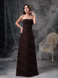 Brown Strapless Ruch Long Dama Dress