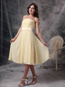 Champagne Strapless Ruch Chiffon Cheap Dama Dress