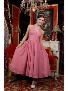 Cheap Light Pink A-line Halter Chiffon Beading Dama Dress