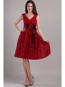 Cheap Sash V-neck Empire Wine Red Dama Dress