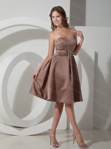 Chocolate Strapless Knee-length Beading Dama Dress
