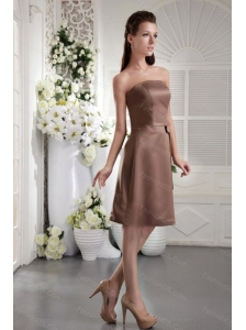 Chocolate Strapless Short Satin Dama Dress With Bowknot