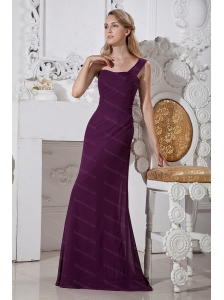 Column One Shoulder Dark Purple Brush Train Dama Dress