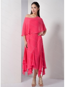 Coral Red Asymmetrical Beading Dama Dress On Sale
