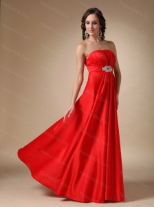 Custom Made Red Empire Strapless Beaded Taffeta Dama Dress