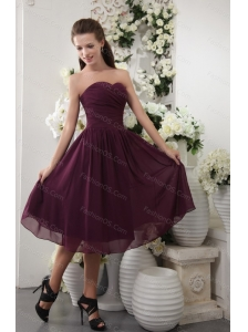 Dark Purple Short Sweetheart Chiffon Dama Dress