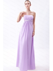 Embroidery Empire Floor-length Lilac Dama Dress