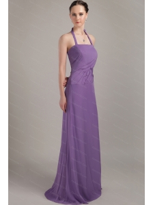 Gorgeous Halter Column Brush Train Chiffon Dama Dress