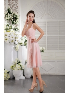 Hand Made Flower Pink Straps Dama Dress With Pleats
