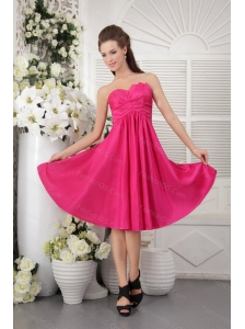 Hot Pink Strapless Taffeta Dama Dresses for Quinceanera