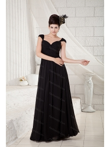 Long Black Empire V-neck Chiffon 2013 Dama Dresses