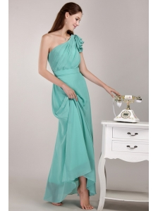 Long Turquoise Colum One Shoulder Chiffon Ruch Dama Dress