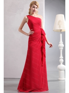 One Shoulder Red Chiffon Ruch Dama Dress For Quinceanera