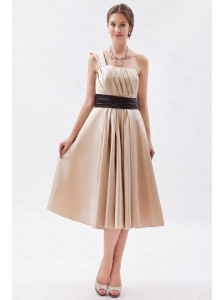 One Shoulder Tea-length Satin Champagne Dama Dress