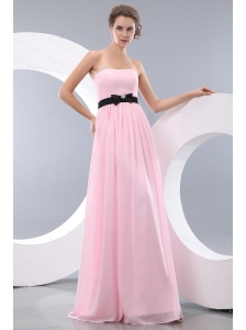 Pink Chiffon Strapless Dama Dress With Black Belt