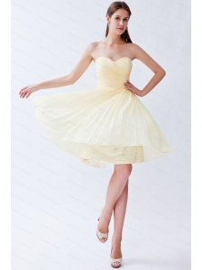 Pleats Sweetheart Light Yellow Knee-length Dama Dress