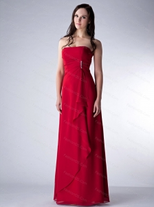 Red Strapless Floor-length Discount Dama Dress On Sale