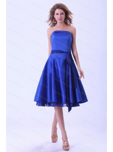 Royal Blue Bridemaid Dress With Sash Tea-length Satin  Royal Blue Short Sash 2013 Dama Dresses