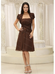 Ruched Strapless Brown Short Dama Dresses for Quinceanera