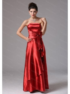 Rust Red Column Long Dama Dress On Sale