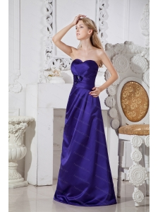 Satin Hand Made Flowers Sweetheart Floor-length Dama Dress