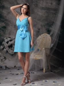 Short Aqua Blue Straps Bowknot Dama Dresses for Quinceanera
