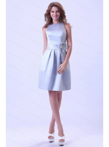 Short Silver Hand Made Flower Bateau 2013 Dama Dresses