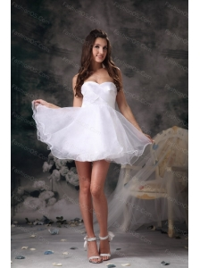Short White A-line Sweetheart Dama Dresses for Quinceanera