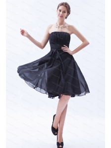 Simple Bow Black A-line Chiffon Dama Dress for 2013