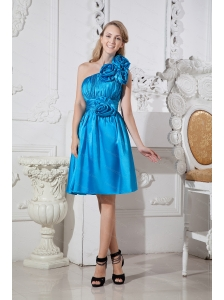 Taffeta Hand Made Flowers One Shoulder Blue Dama Dress