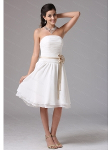 White Strapless Sash Ruched Cheap Dama Dress
