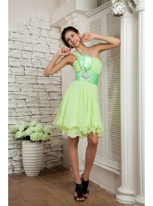 Yellow Green Empire Chiffon Beading Dama Dresses 2013